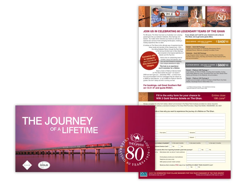 The Ghan direct mail design