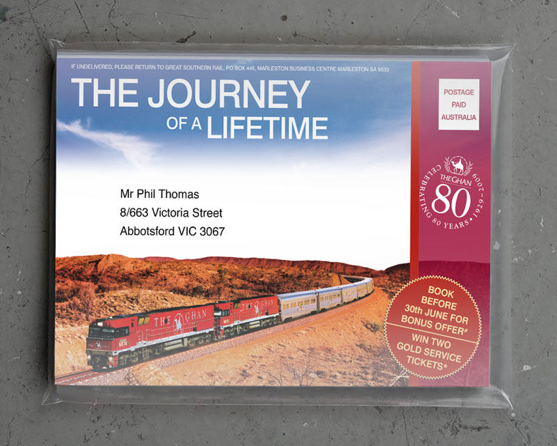 The Ghan direct mail piece