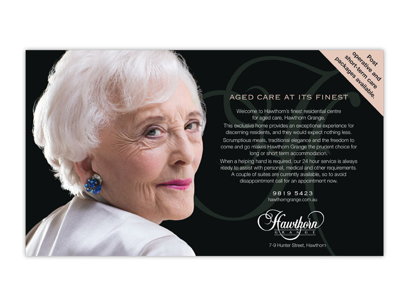 Hawthorn Grange half page ad with lady