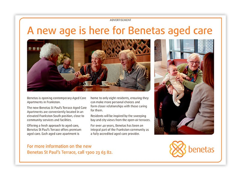Benetas half page ad for aged care