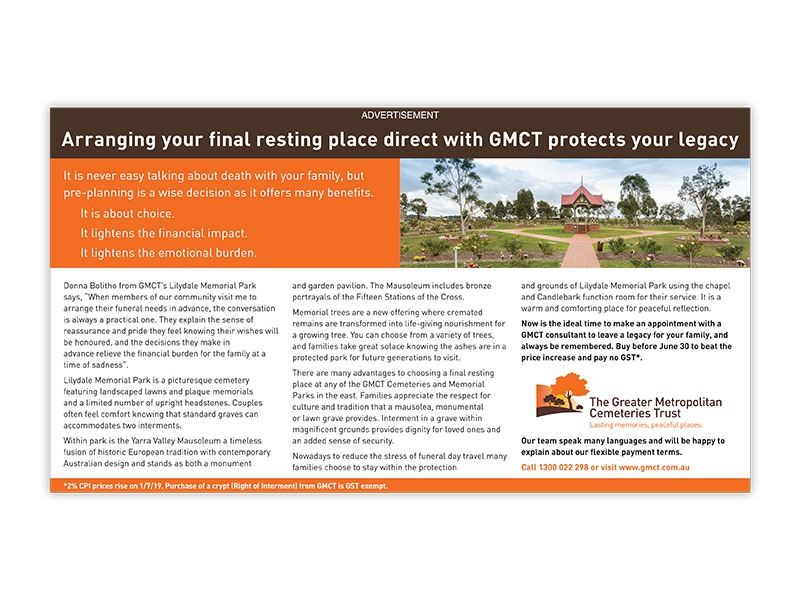 Greater Metropolitan Cemeteries Trust advertorial
