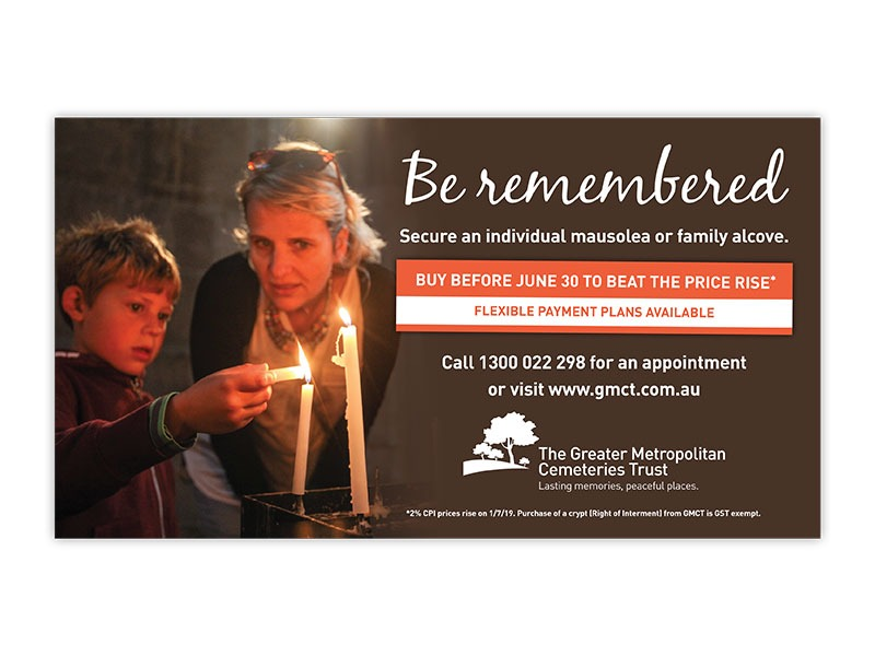 Greater Metropolitan Cemeteries Trust half page ad