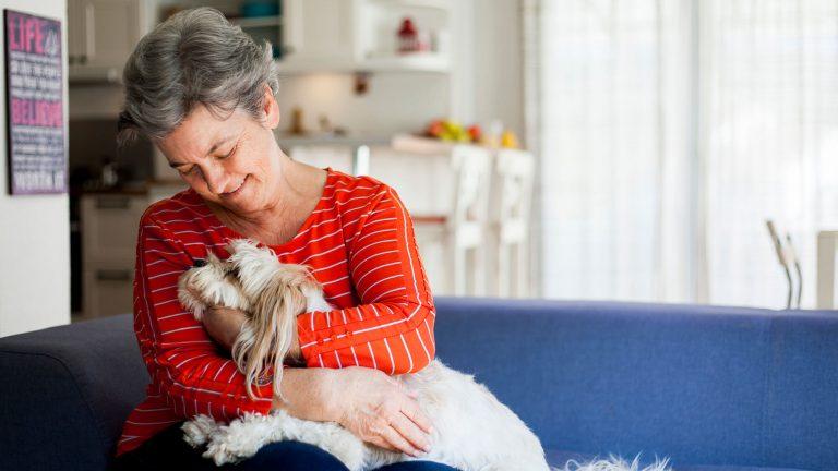 Senior lady with dog