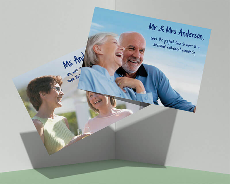Stockland Retirement direct mail fronts